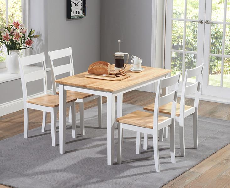 Photo of Chichester 115 cm oak & cream dining table + 4 chairs