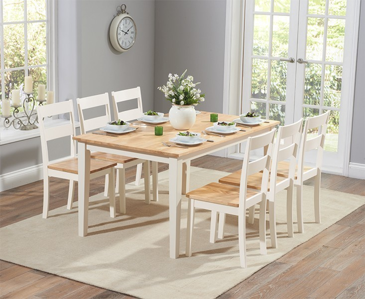 Chichester 150cm Oak and Cream Dining Table with 4 Dining