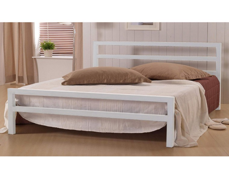 City Block 4ft Small Double White Metal Bed