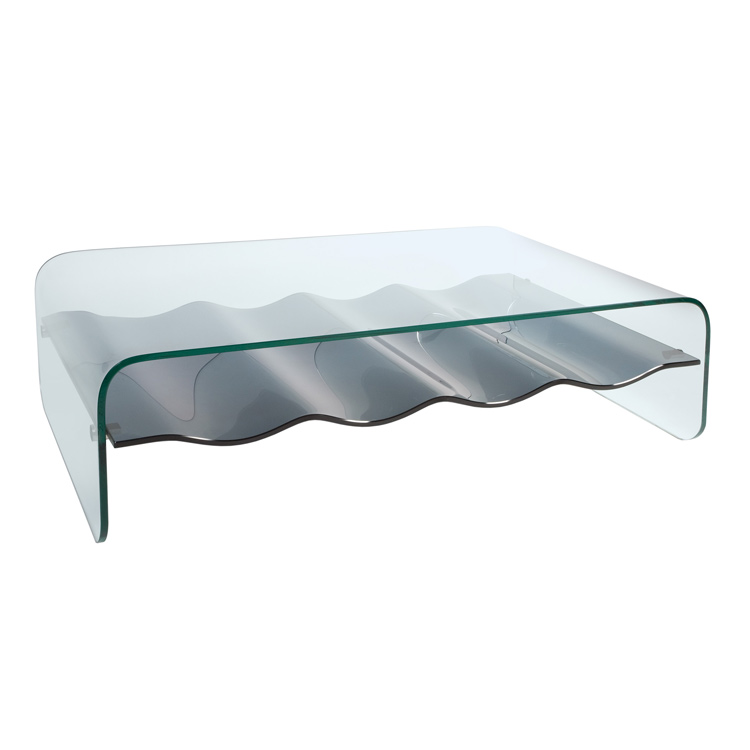 Photo of Greenapple lychee ripple black shelf glass coffee table