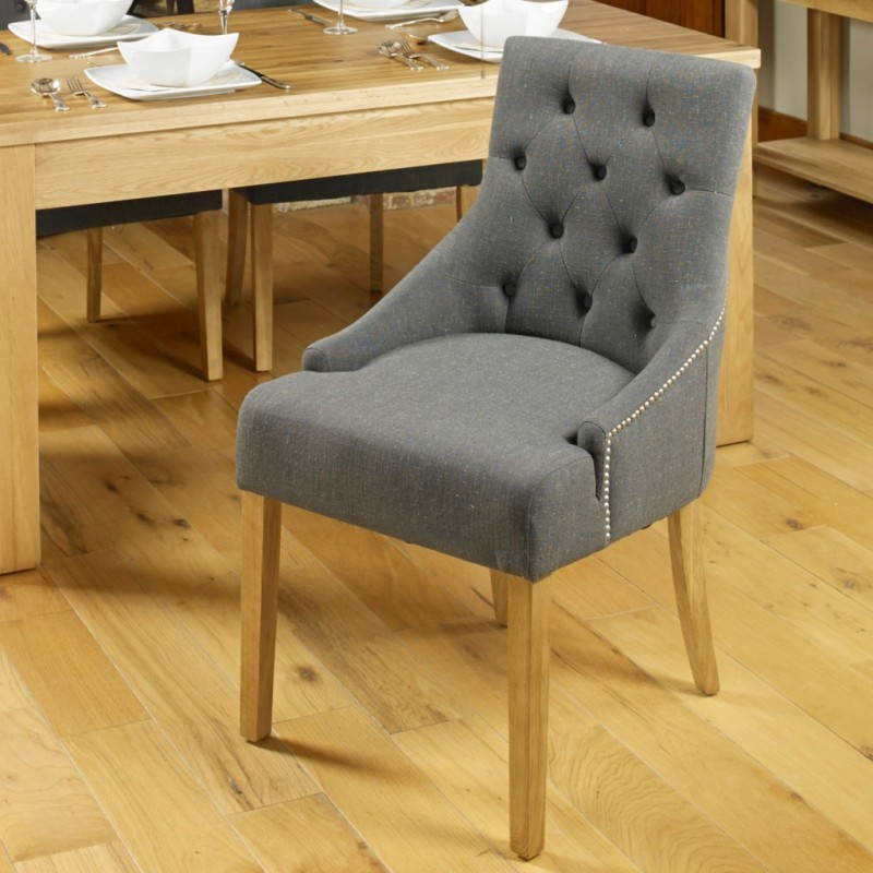 Mobel Oak Accent Stone Upholstered Dining Chair Pair