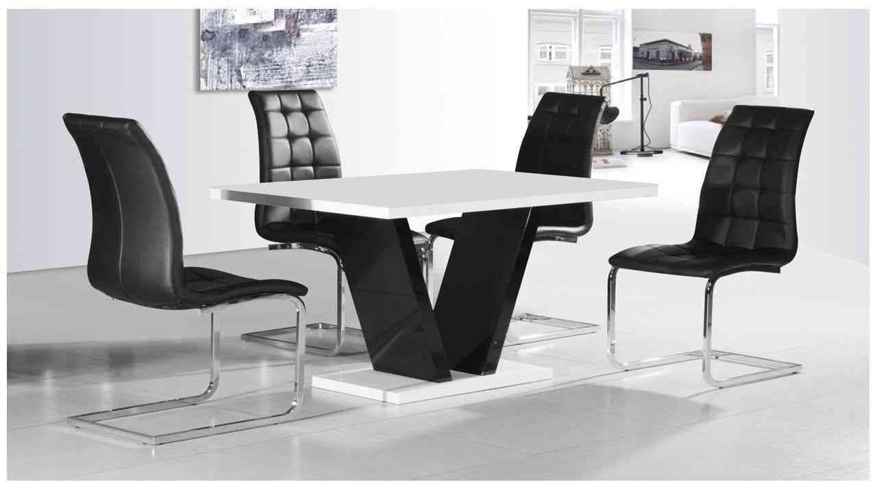 Click to view product details and reviews for Zara White High Gloss Small Dining Table And 4 Enzo Black Chairs.