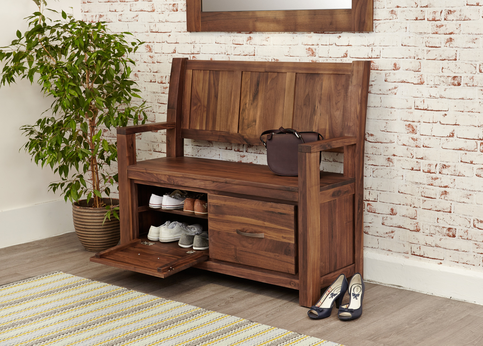 Mayan Walnut Monks Bench with Shoe Storage