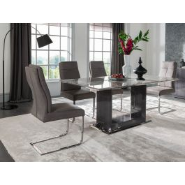 Donatella 120cm Grey Marble Dining Table + 4 Chairs