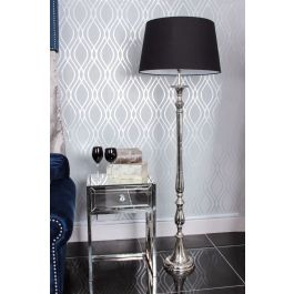 Nova Nickle Floor Lamp With Black Shade