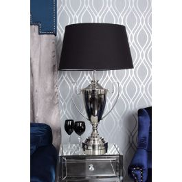 Trophy Nickle Table Lamp With Black Shade