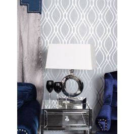 Halo Nickle Table Lamp With Cream Shade