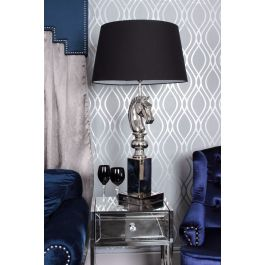 Horse Head Nickle Table Lamp With Black Shade