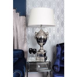 Rams Head Nickle Table Lamp With Cream Shade