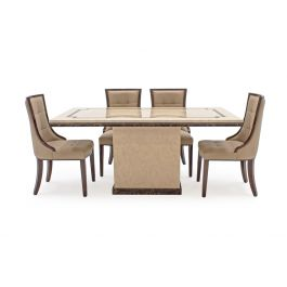 Alfredo 180cm Beige Marble Dining Table + Leather Chairs
