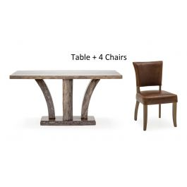 Amalfi 160cm Rect.Grey Marble Dining Table + Duke Leather Chairs