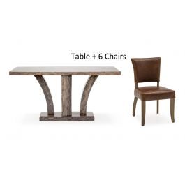 Amalfi 180cm Rect.Grey Marble Dining Table + Duke Leather Chairs