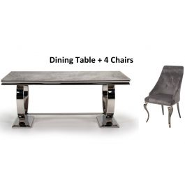Arianna 200cm Rect. Grey Marble Table + Cassia Chairs