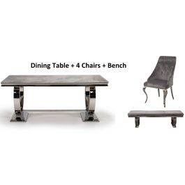 Arianna 180cm Rect. Grey Marble Table + 4 Cassia Chairs + Bench