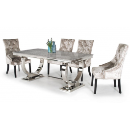 Arianna 180cm Grey Marble Dining Table And 6 Eden Chairs