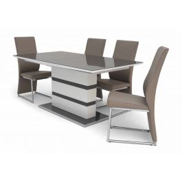 Fairmont Armano Ext Grey High Gloss Dining Table + 6 Remo Chairs