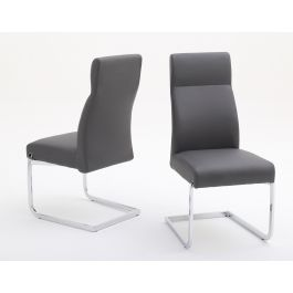 Fairmont Dante Grey Leather Dining Chairs Pair