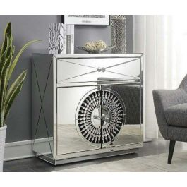 Crystal Mirrored 2 Doors 1 Drawer Chest