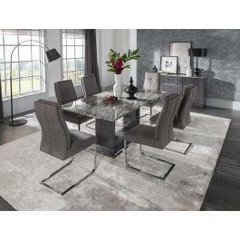 Donatella 180cm Grey Marble Dining Table + 6 Chairs