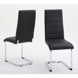 Fairmont Hugo Black Leather Dining Chairs Pair