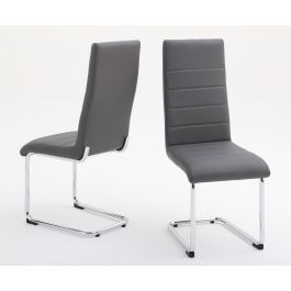 Fairmont Hugo Grey Leather Dining Chairs Pair