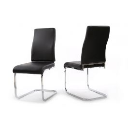 Fairmont Primo Black Leather Dining Chairs Pair