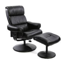 Fairmont Strasbourg Brown Leather Swivel Recliner Chair With Footstool