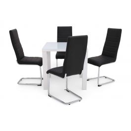 Fairmont Blanca Square White High Gloss Dining Table + 4 Hugo Chairs