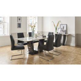 Luciana 200cm Grey Marble Dining Table + Grey Leather Chairs
