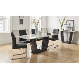Luciana 160cm Grey Marble Dining Table + Grey Leather Chairs