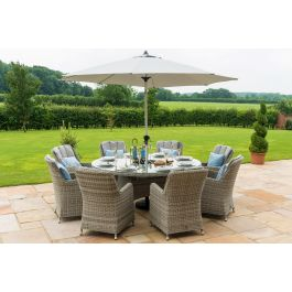 Maze Oxford Grey Rattan 8 Seat Round Ice Bucket Set with Venice Chairs