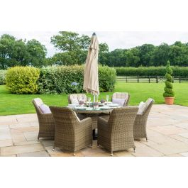 Maze Winchester 6 Seat Round Rattan Ice Bucket Dining Set with Venice Chairs and Lazy Susan