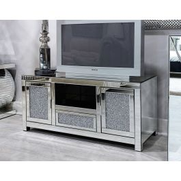 Crackle Silver Mirrored Tv Unit