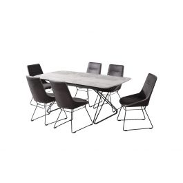 Nero 160cm Ext. Grey Marble Dining Table + Mirko Dining Chairs