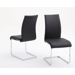 Fairmont Paolo Black Leather Dining Chairs Pair