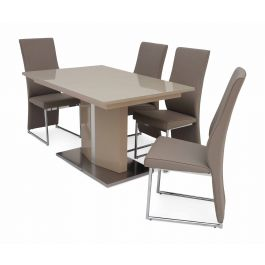 Fairmont Silvio Ext Cream High Gloss Dining Table + 4 Remo Chairs