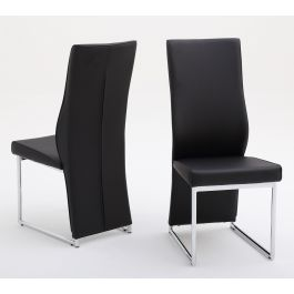 Fairmont Remo Black Leather Dining Chairs Pair