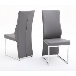 Fairmont Remo Grey Leather Dining Chairs Pair