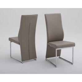 Fairmont Remo Taupe Leather Dining Chairs Pair