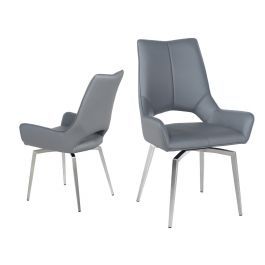 Fairmont Spinello Grey Swivel Leather Dining Chairs