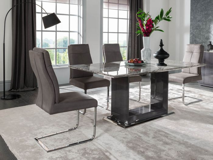 Donatella 160cm Grey Marble Dining Table With 4 Chairs