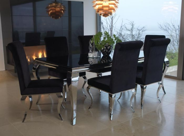70174d9a94c7 Vida Living Exclusive Louis 160cm Black Tempered Glass Dining Table With 6  Chairs