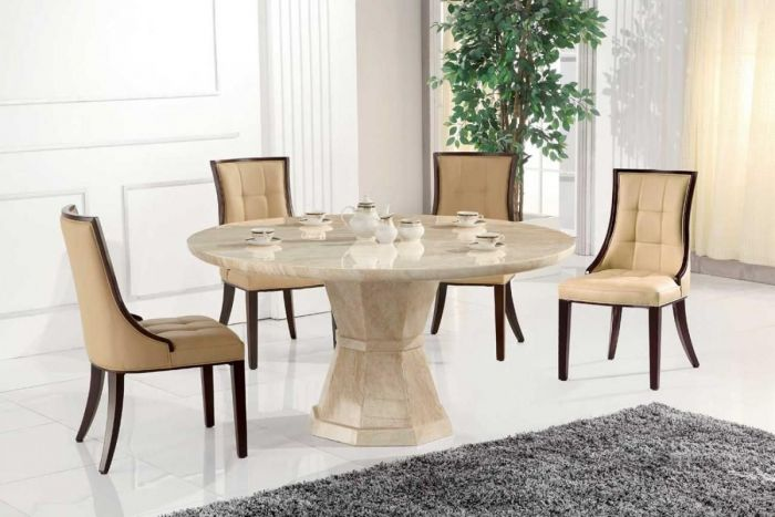 Vida Living Exclusive Marcello Cream Marble 130cm Round Dining Table With 4 Marcello Chairs First Furniture