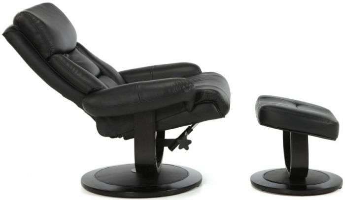 Swell Serene Risor Black Leather Swivel Recliner Chair With Footstool Pdpeps Interior Chair Design Pdpepsorg