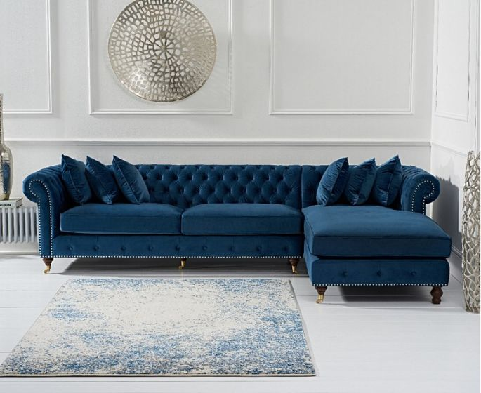 Fiona Blue Velvet Rhf Chesterfield Corner Chaise Sofa Pt32326 First Furniture First Furniture