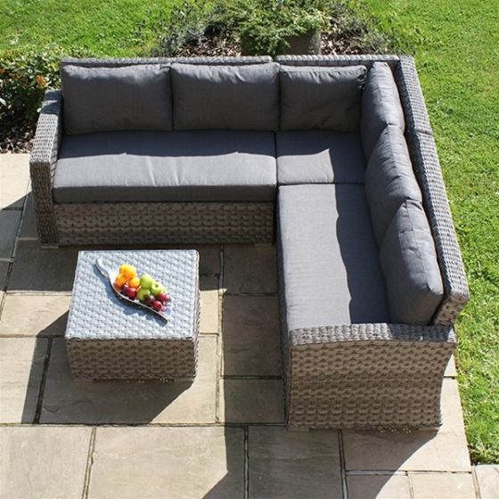 Small Grey Rattan Coffee Table: Maze Victoria Small Rattan Corner Sofa Set With Coffee