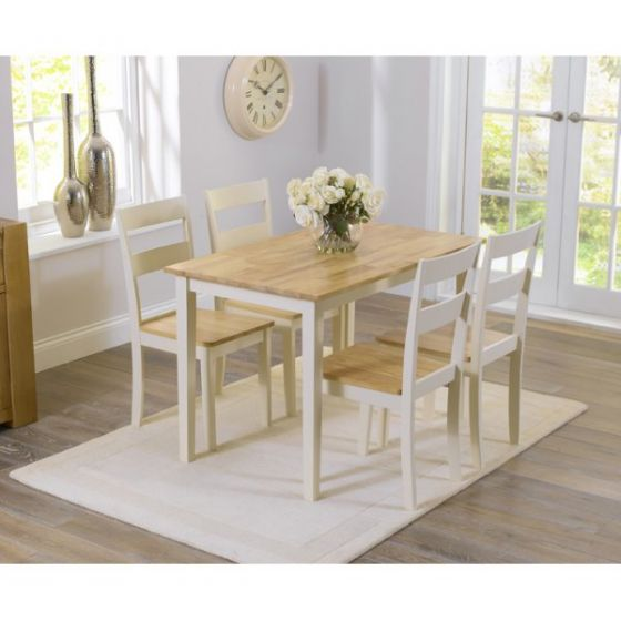 510bdea925 Chichester 150 cm Oak & Cream Dining Table + 4 Chairs |First Furniture