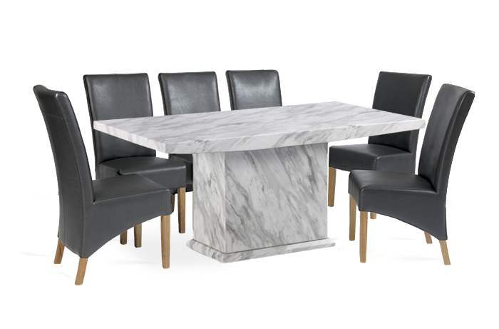 Caceres 220cm Grey Marble Effect Dining Table With Roma Chairs First Furniture First Furniture