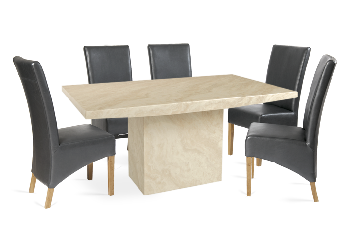 Coruna 180cm Cream Marble Effect Dining Table With Roma Chairs First Furniture First Furniture