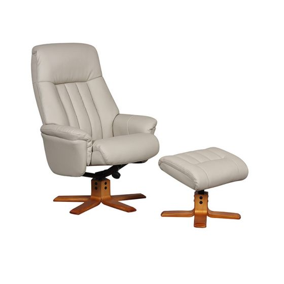 St Tropez Bone Leather Swivel Recliner Chair And Footstool |First Furniture
